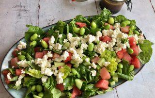 Salat med vandmelon, edamamebønner og feta